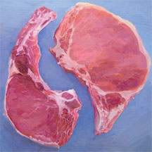Meat paintings by Mike Geno